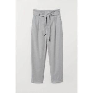 H&M Paper Bag Pants Trouser 6 Light Gray Marl